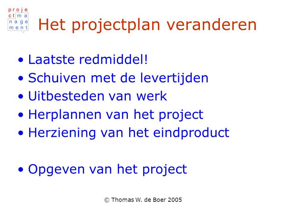 Het projectplan veranderen