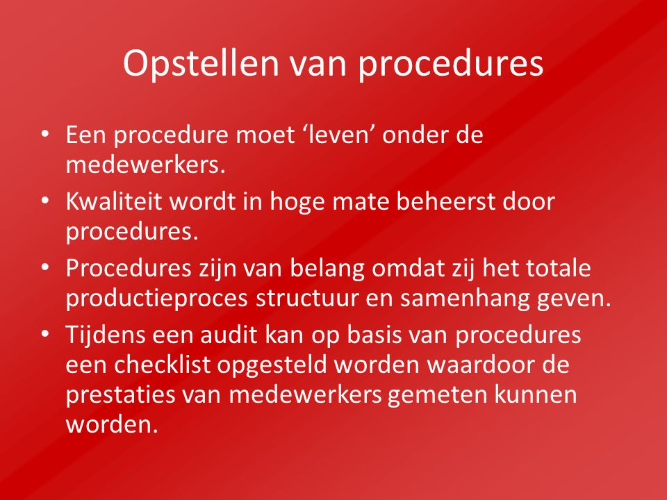 Opstellen van procedures