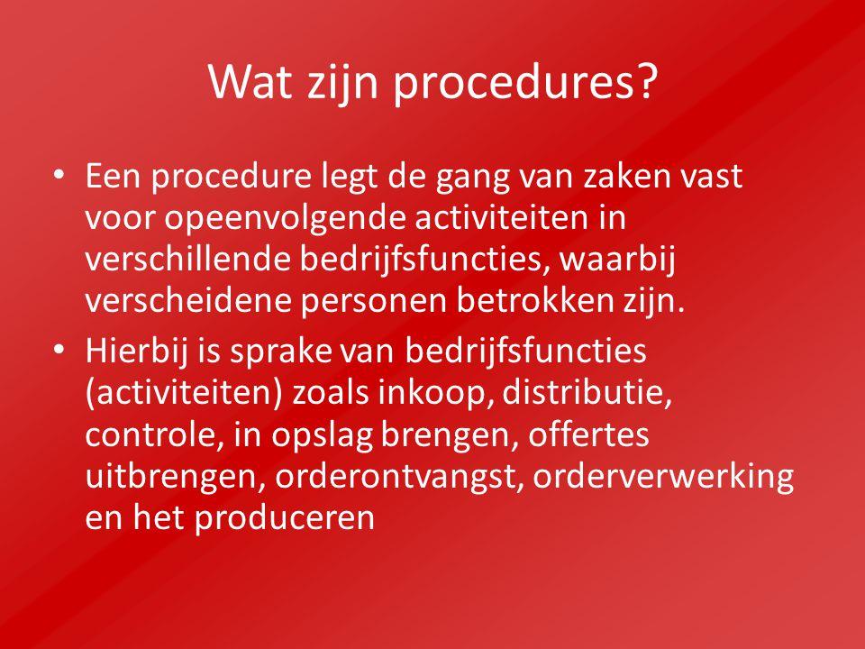 Wat zijn procedures