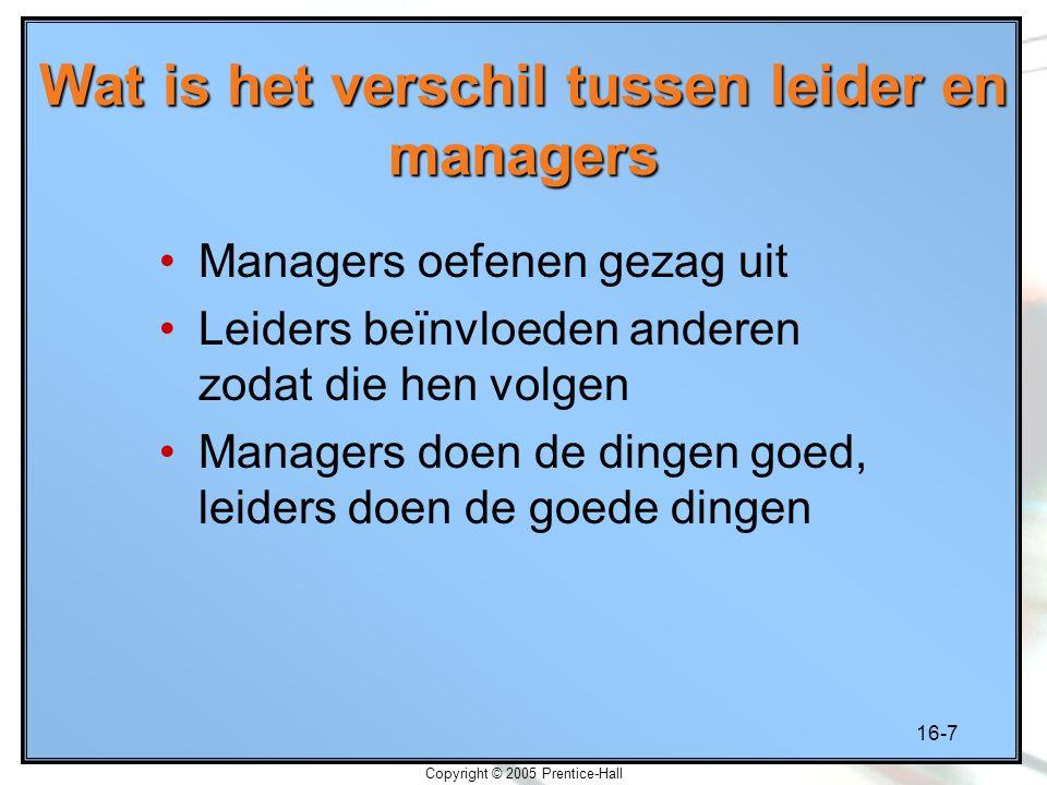 Wat is het verschil tussen leider en managers