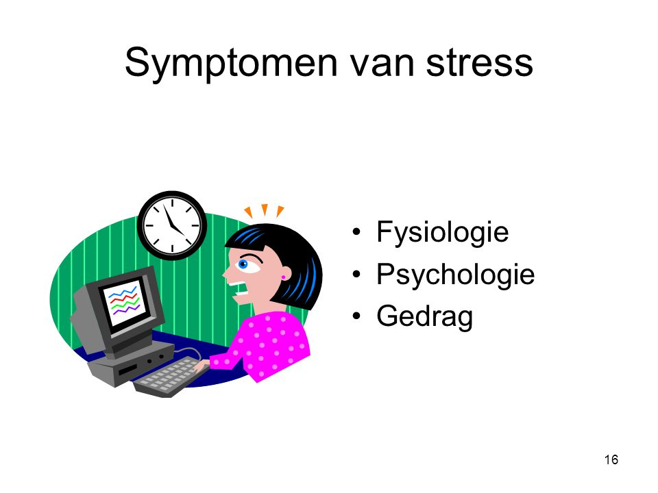 Symptomen van stress Fysiologie Psychologie Gedrag