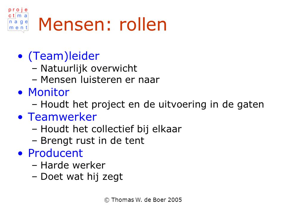 Mensen: rollen (Team)leider Monitor Teamwerker Producent