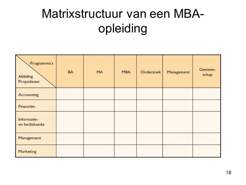 Matrixstructuur van een MBA-opleiding