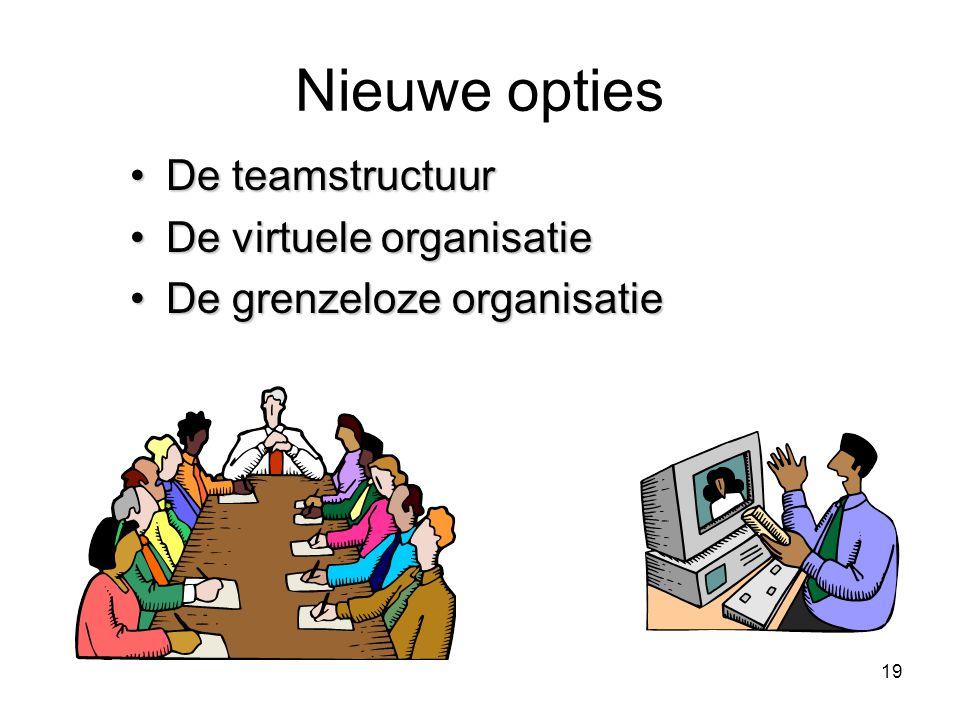 Nieuwe opties De teamstructuur De virtuele organisatie