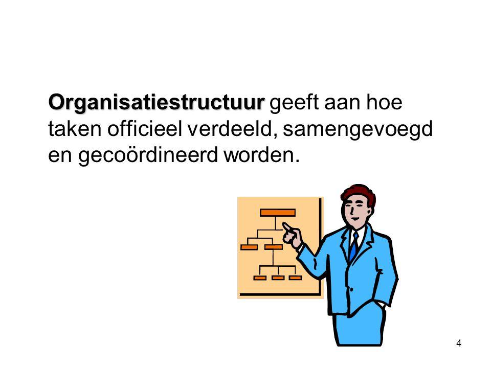 Organisatiestructuur geeft aan hoe taken officieel verdeeld, samengevoegd en gecoördineerd worden.
