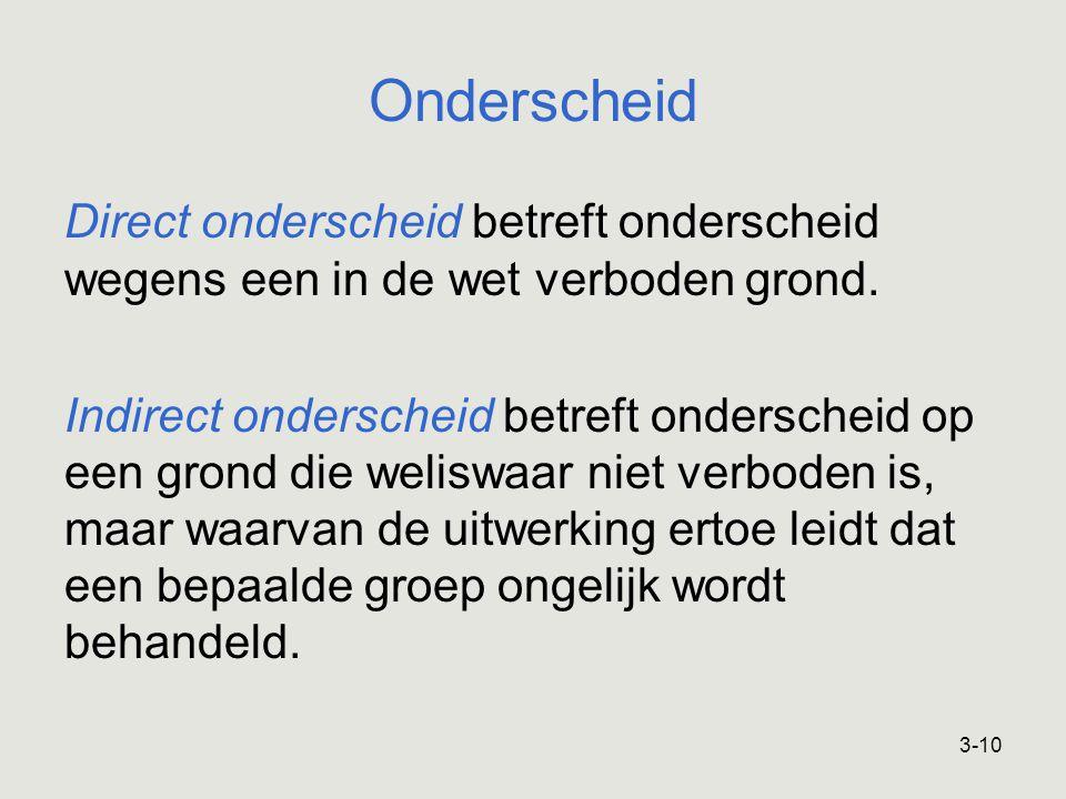 Onderscheid Direct onderscheid betreft onderscheid wegens een in de wet verboden grond.