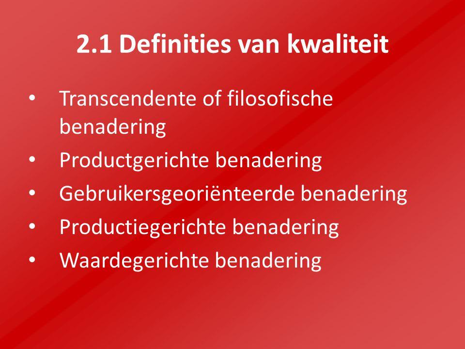 2.1 Definities van kwaliteit