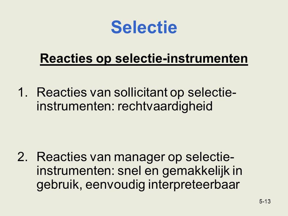 Reacties op selectie-instrumenten