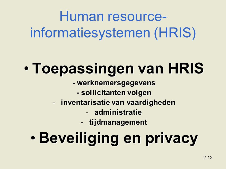 Human resource-informatiesystemen (HRIS)
