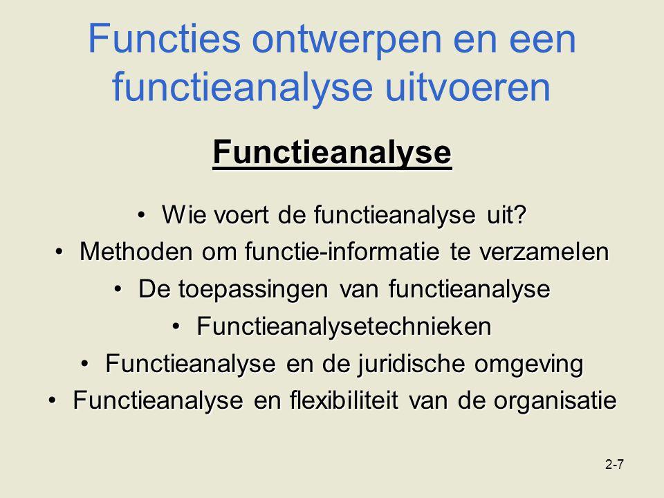 Functies ontwerpen en een functieanalyse uitvoeren