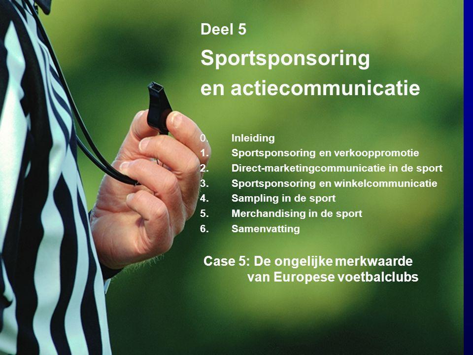 Sportsponsoring en actiecommunicatie Deel 5 0. Inleiding