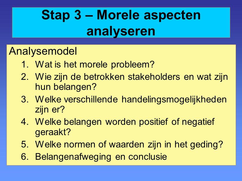 Stap 3 – Morele aspecten analyseren