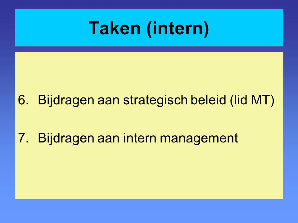 Taken (intern) Bijdragen aan strategisch beleid (lid MT)