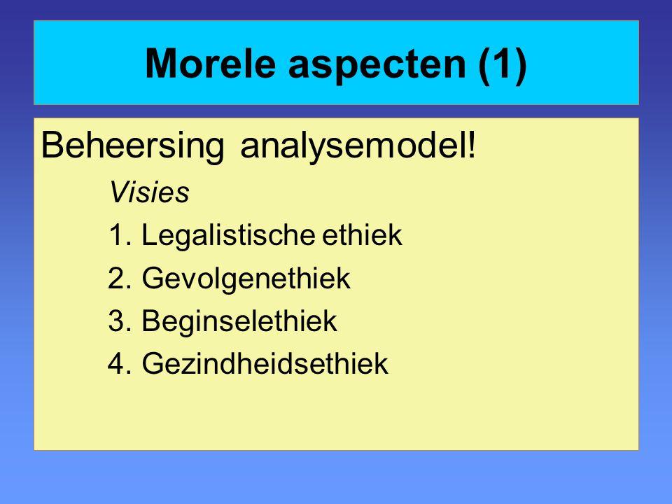 Morele aspecten (1) Beheersing analysemodel! Visies