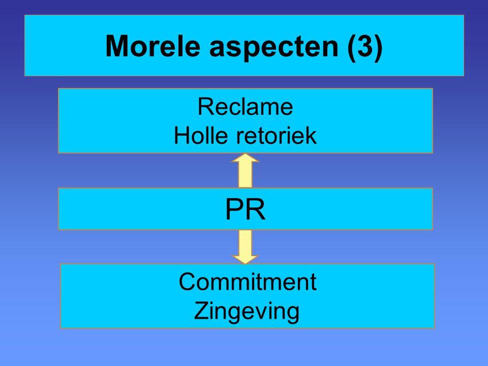 Morele aspecten (3) Reclame Holle retoriek PR Commitment Zingeving