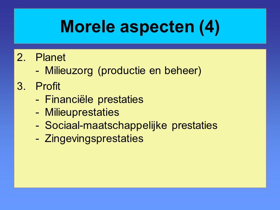 Morele aspecten (4) Planet - Milieuzorg (productie en beheer)