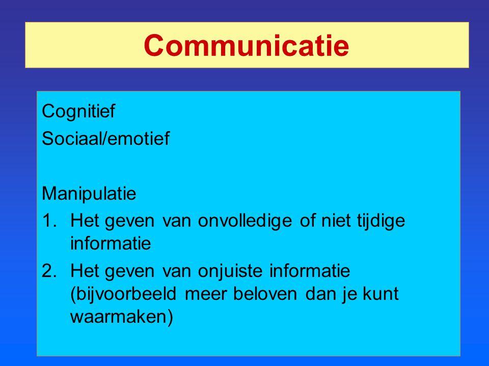 Communicatie Cognitief Sociaal/emotief Manipulatie