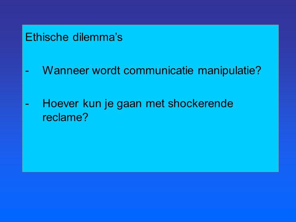 Ethische dilemma's Wanneer wordt communicatie manipulatie.