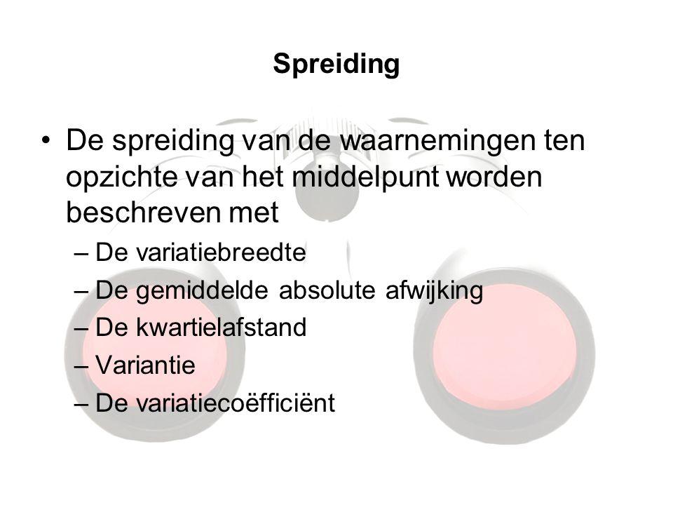 Spreiding De spreiding van de waarnemingen ten opzichte van het middelpunt worden beschreven met. De variatiebreedte.