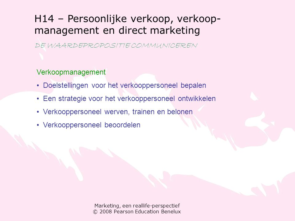 H14 – Persoonlijke verkoop, verkoop-management en direct marketing