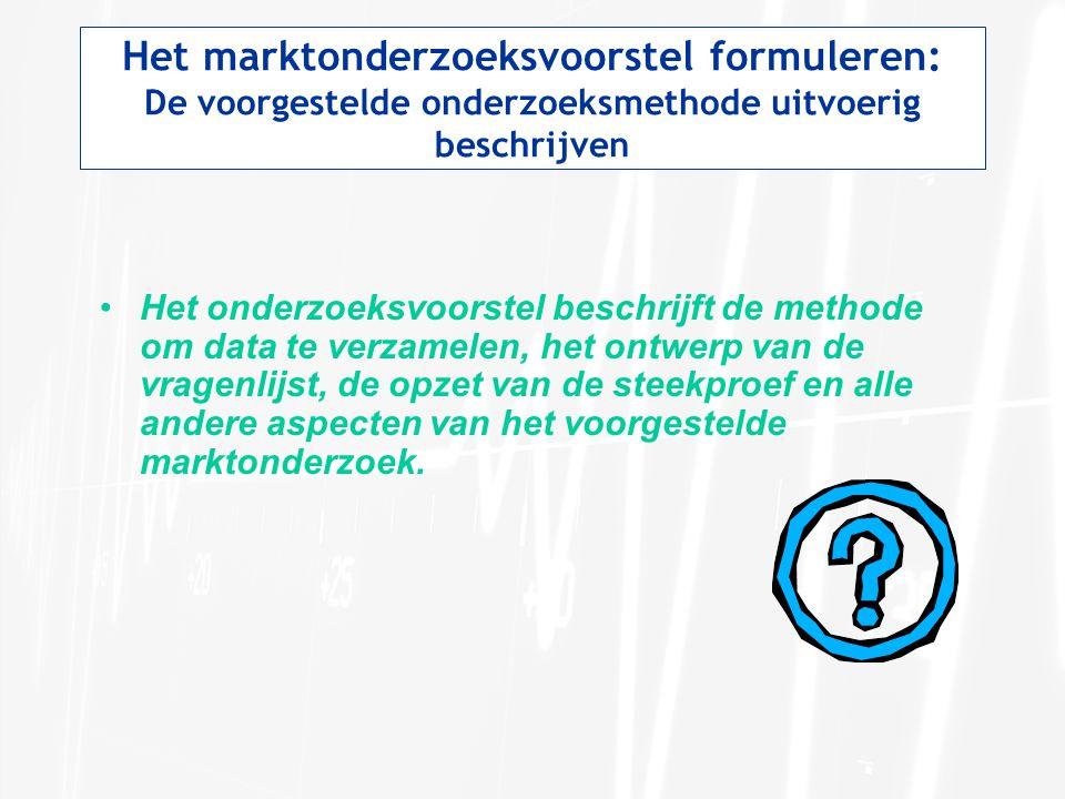Het marktonderzoeksvoorstel formuleren: De voorgestelde onderzoeksmethode uitvoerig beschrijven