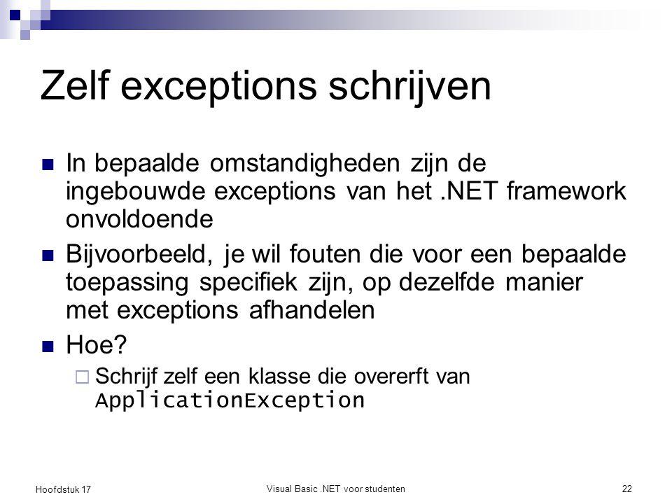 Zelf exceptions schrijven