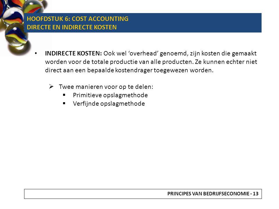 HOOFDSTUK 6: COST ACCOUNTING DIRECTE EN INDIRECTE KOSTEN