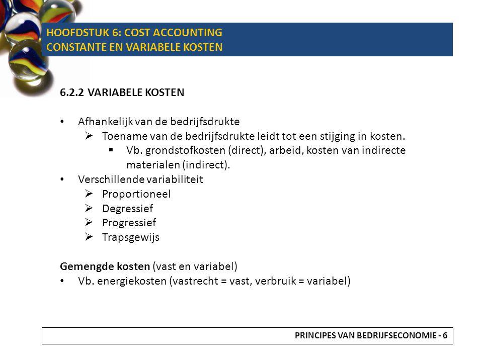HOOFDSTUK 6: COST ACCOUNTING CONSTANTE EN VARIABELE KOSTEN