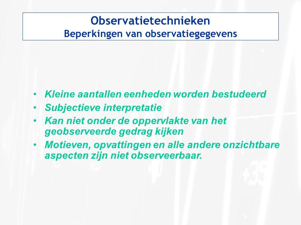 Observatietechnieken Beperkingen van observatiegegevens