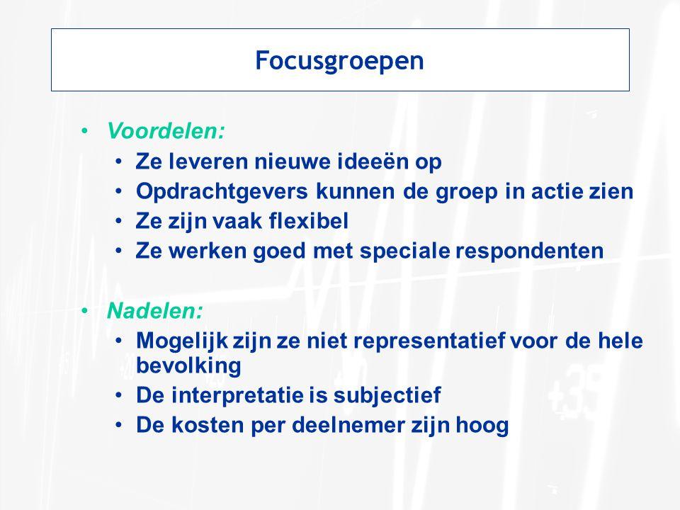 Focusgroepen Voordelen: Ze leveren nieuwe ideeën op
