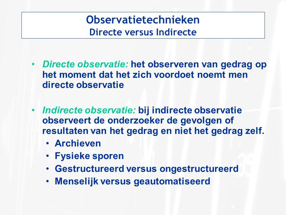 Observatietechnieken Directe versus Indirecte
