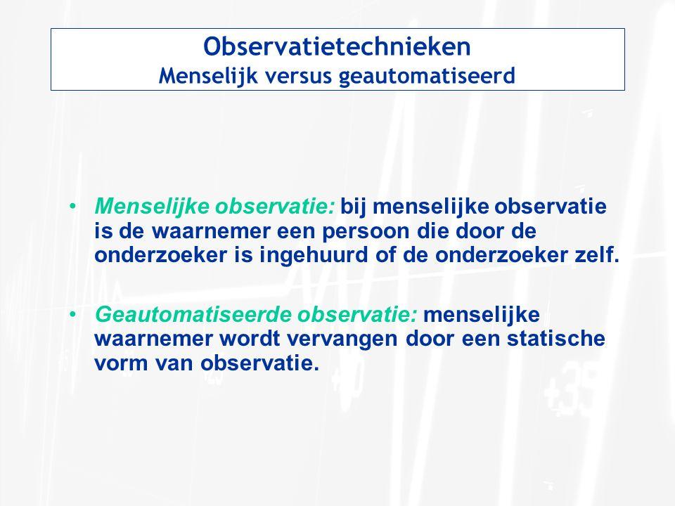 Observatietechnieken Menselijk versus geautomatiseerd