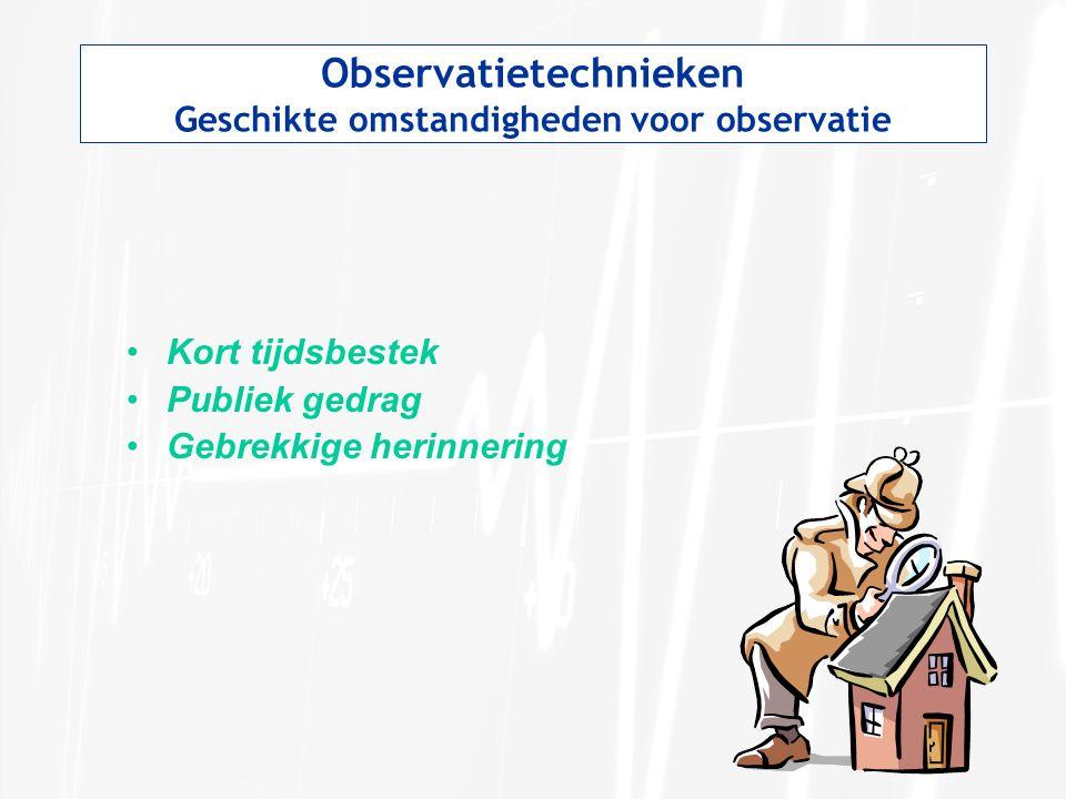 Observatietechnieken Geschikte omstandigheden voor observatie
