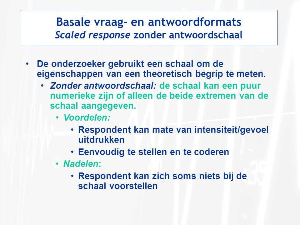 Basale vraag- en antwoordformats Scaled response zonder antwoordschaal