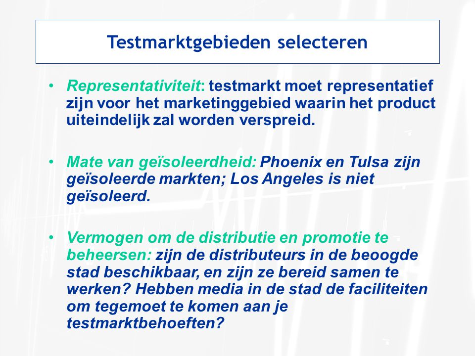 Testmarktgebieden selecteren