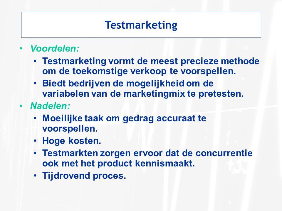 Testmarketing Voordelen: