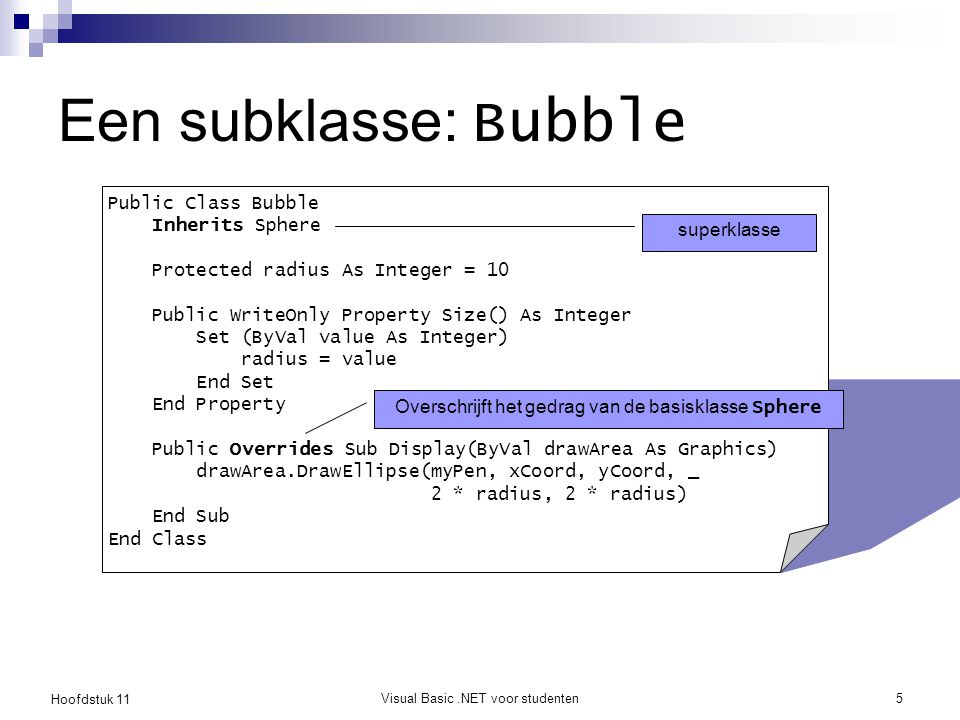 Een subklasse: Bubble Public Class Bubble Inherits Sphere superklasse