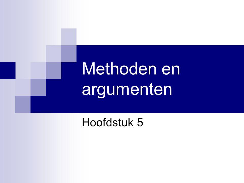 Methoden en argumenten