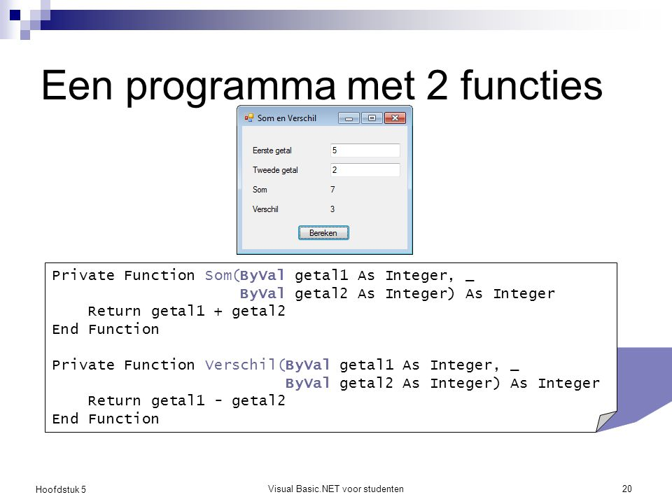 Een programma met 2 functies