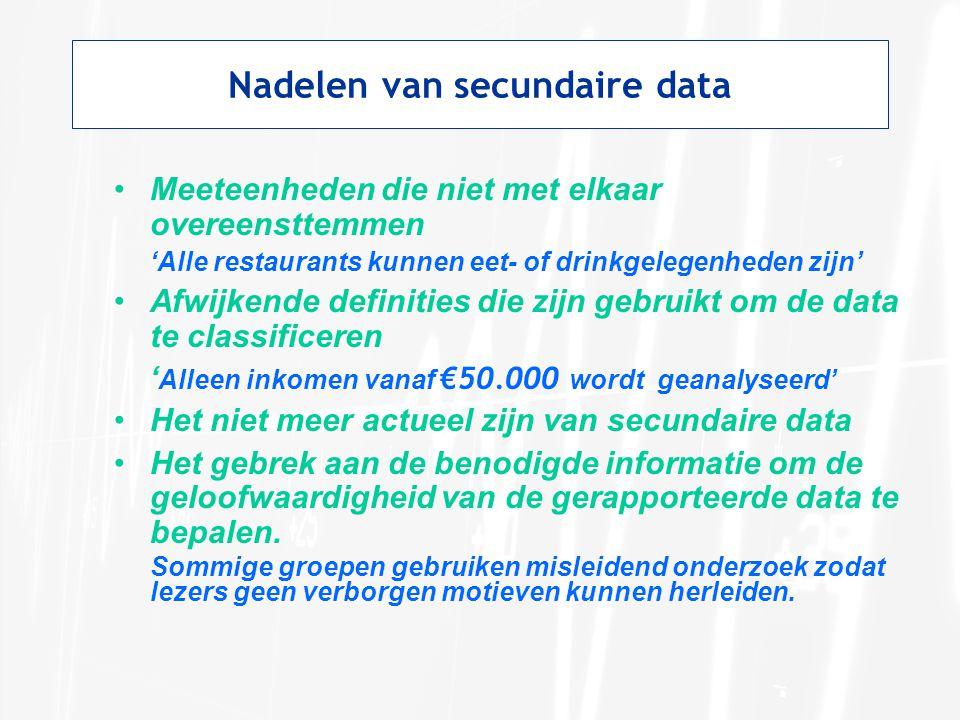 Nadelen van secundaire data