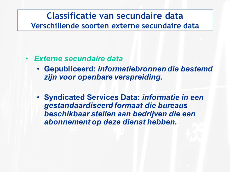 Classificatie van secundaire data