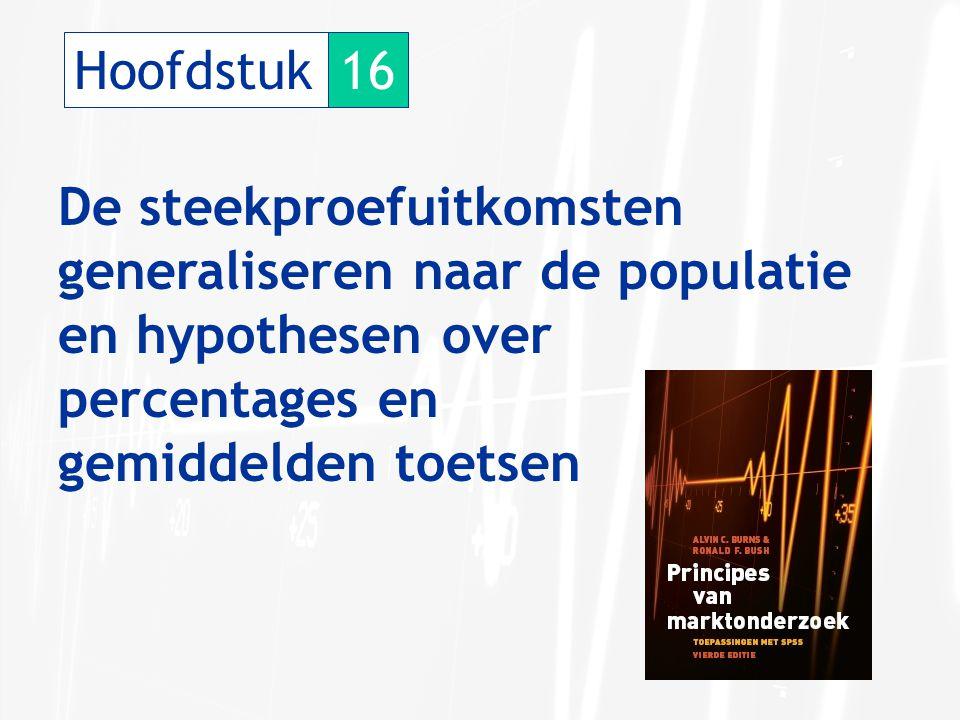 Hoofdstuk 16. De steekproefuitkomsten generaliseren naar de populatie. en hypothesen over. percentages en.