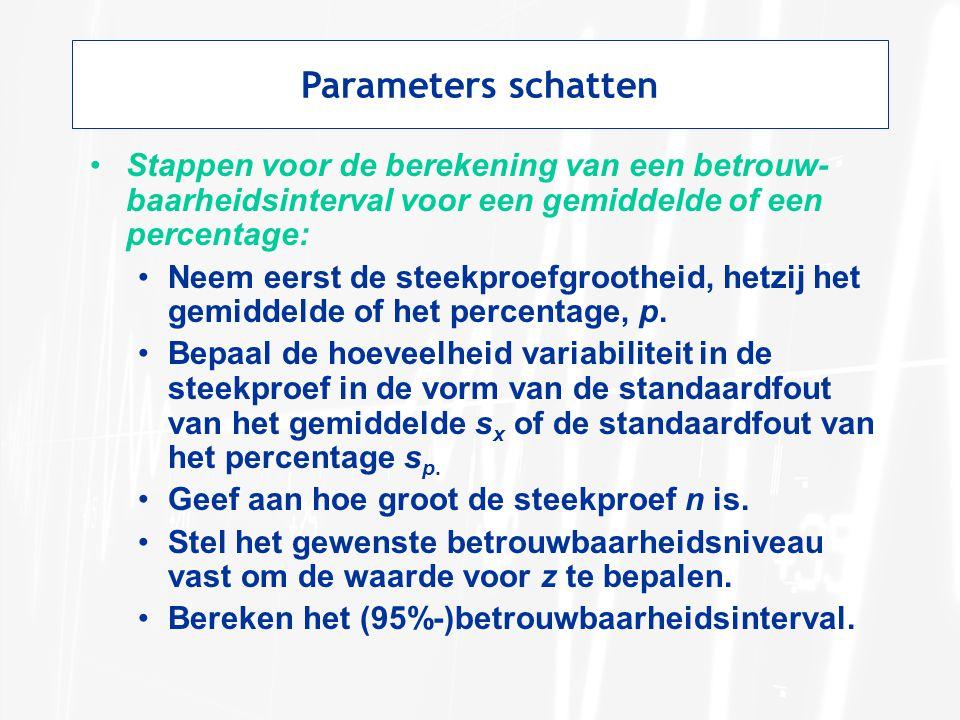 Parameters schatten Stappen voor de berekening van een betrouw-baarheidsinterval voor een gemiddelde of een percentage: