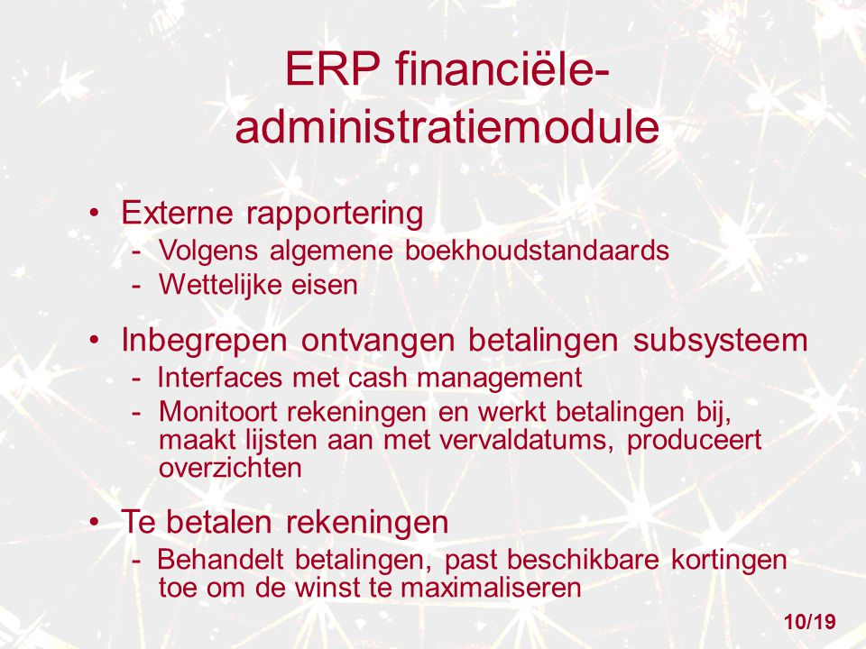 ERP financiële-administratiemodule