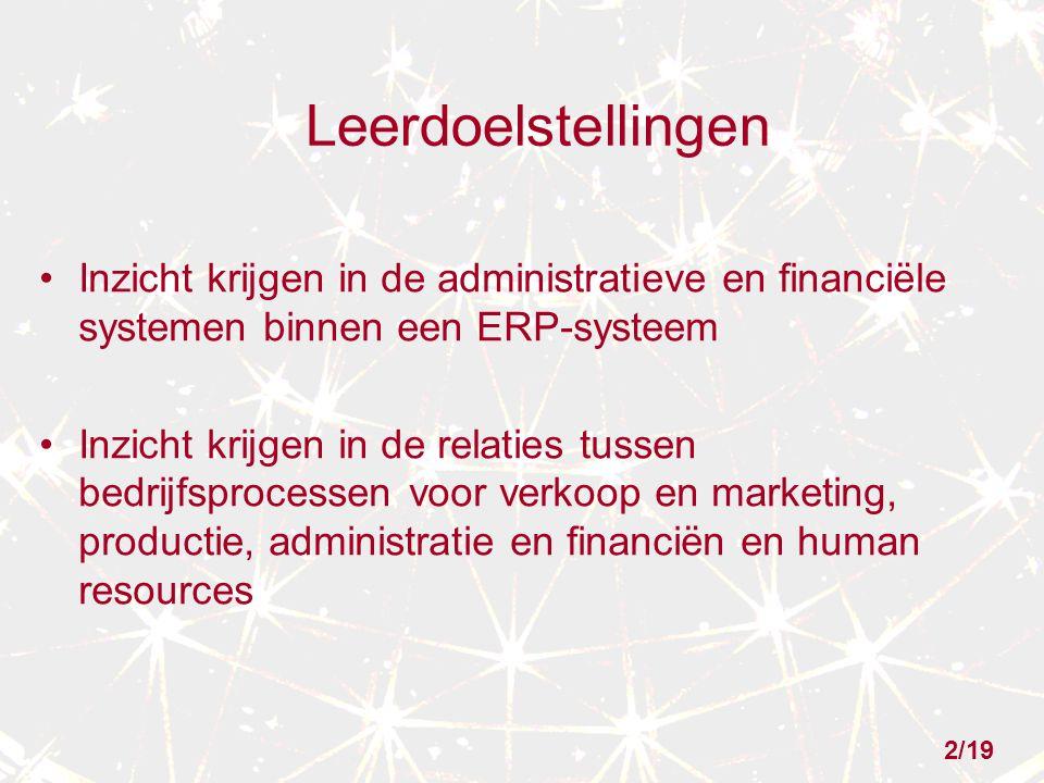 Leerdoelstellingen Inzicht krijgen in de administratieve en financiële systemen binnen een ERP-systeem.