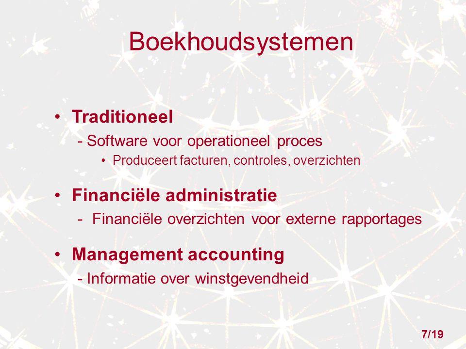 Boekhoudsystemen Traditioneel Financiële administratie