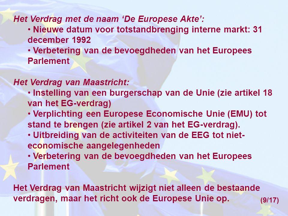 Het Verdrag met de naam 'De Europese Akte':
