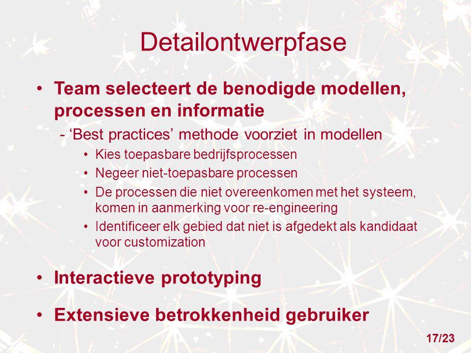Detailontwerpfase Team selecteert de benodigde modellen, processen en informatie. - 'Best practices' methode voorziet in modellen.