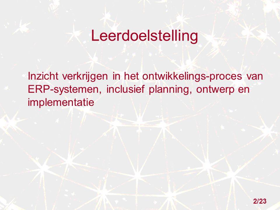 Leerdoelstelling Inzicht verkrijgen in het ontwikkelings-proces van ERP-systemen, inclusief planning, ontwerp en implementatie.