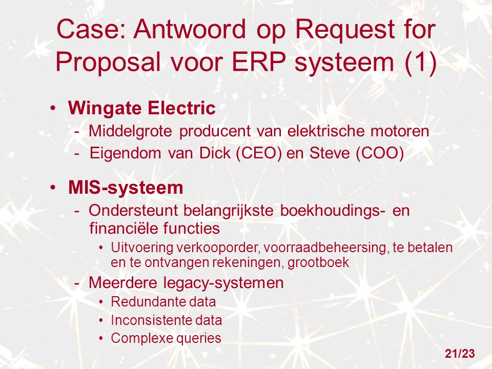 Case: Antwoord op Request for Proposal voor ERP systeem (1)